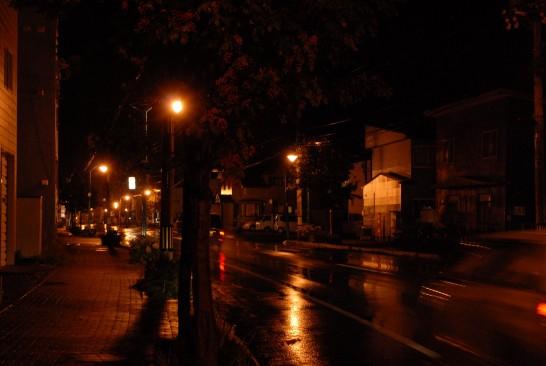 夜の紋別市内