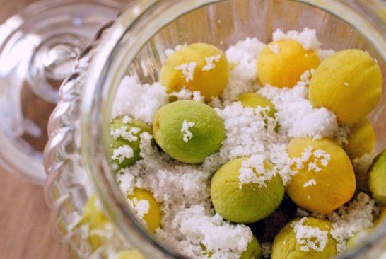 梅を塩に漬け込む